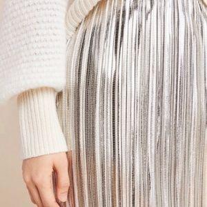 Anthropologie Maeve Pleated Metallic Skirt Retro